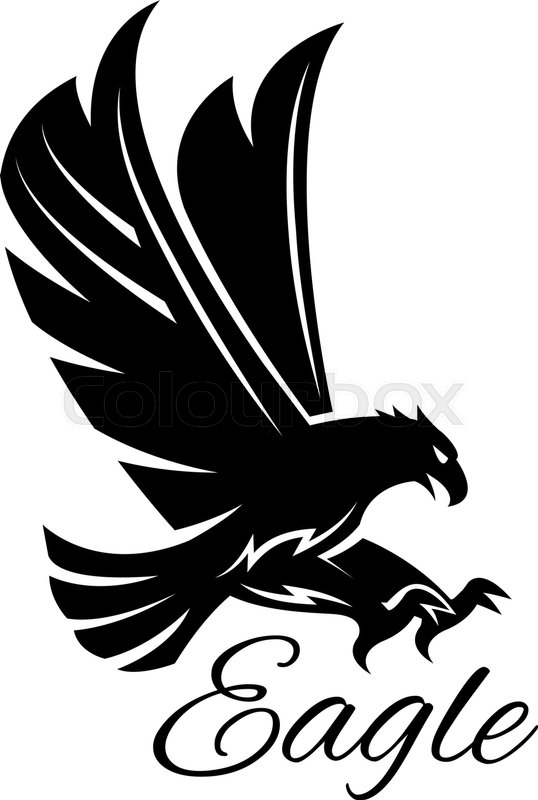 Eagle Bird Black Icon Vector Heraldic Emblem Of Powerful Wild