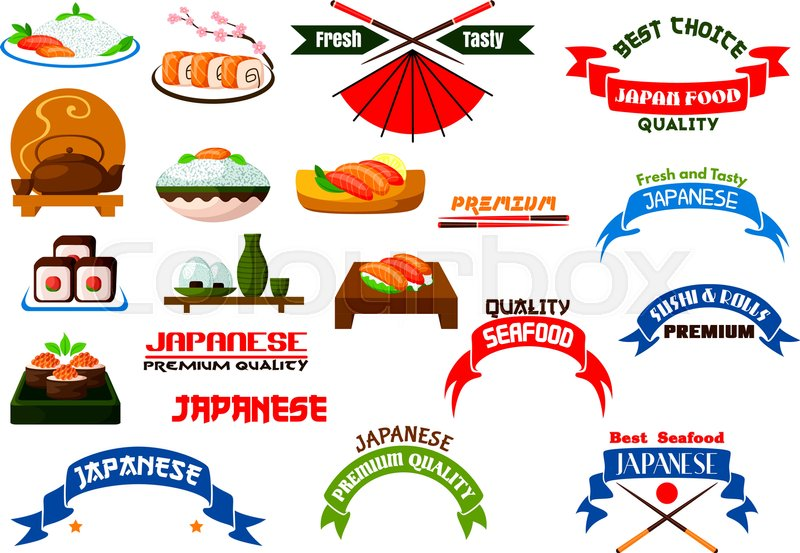 Japanese Cuisine Signs Set Sushi Restaurant Vector Isolated Icon