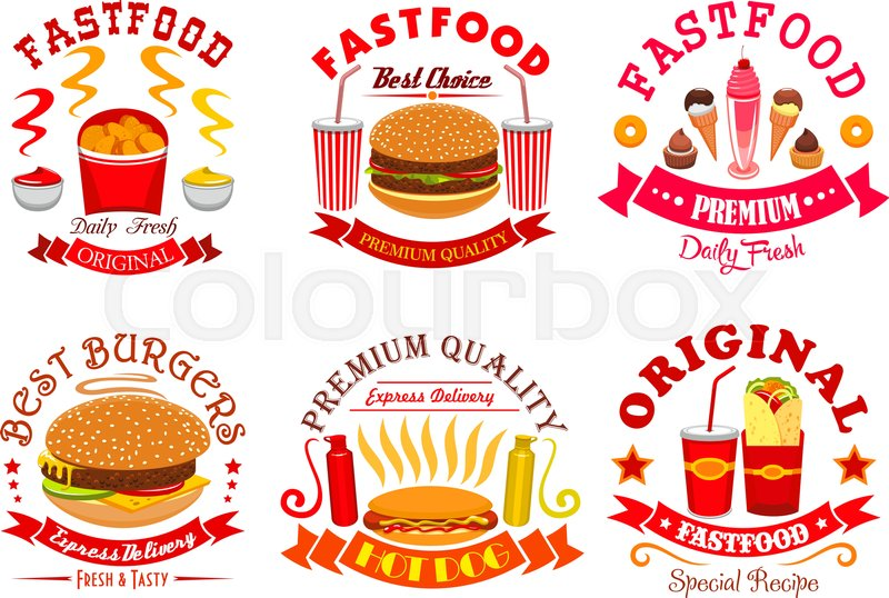 Fast Food Signs Icons Set Vector Isolated Symbols Of Cheeseburger
