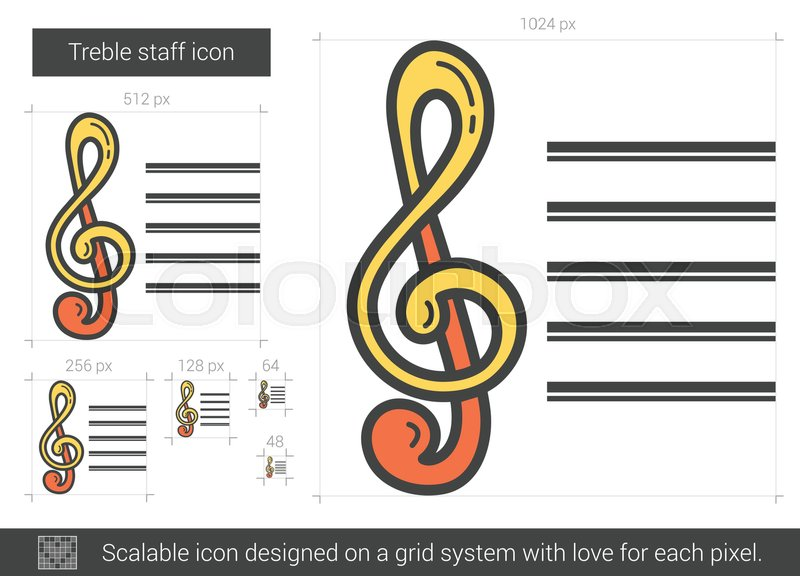 treble staff vector line icon isolated on white background treble staff line icon for infographic website or app scalable icon designed on a grid system