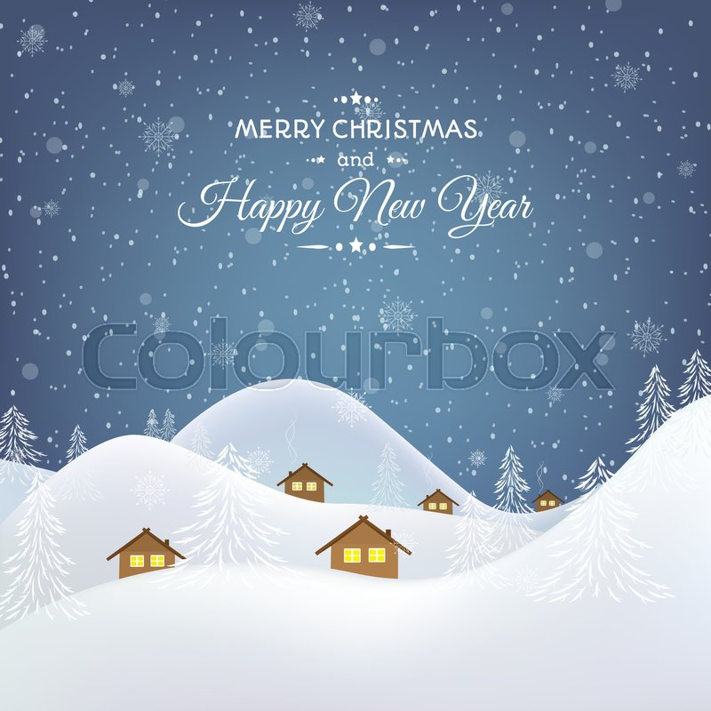 Winter village mountains forest valley night scenic landscape. Rural chalet hut buildings with glowing windows in snowdrift. New Year Christmas greeting card template. Vector design illustration, vector