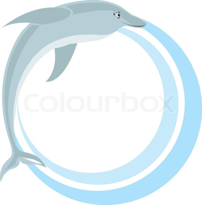 Kreis -Rahmen mit Delphin- Vektor-Illustration   Vektorgrafik ...
