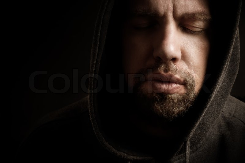 Bearded Man With Closed Eyes Special Dark Effect