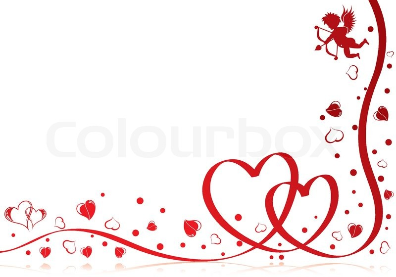 Valentines Day Theme With Heart Ribbon And Cupid Element For