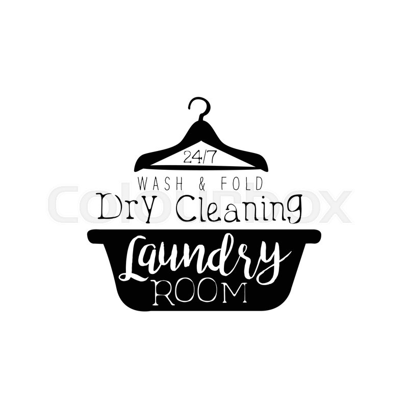 Black And White Sign For The Laundry Dry Cleaning Service With Basin Hanger Silhouette Vector Clothes Washing Template Logo