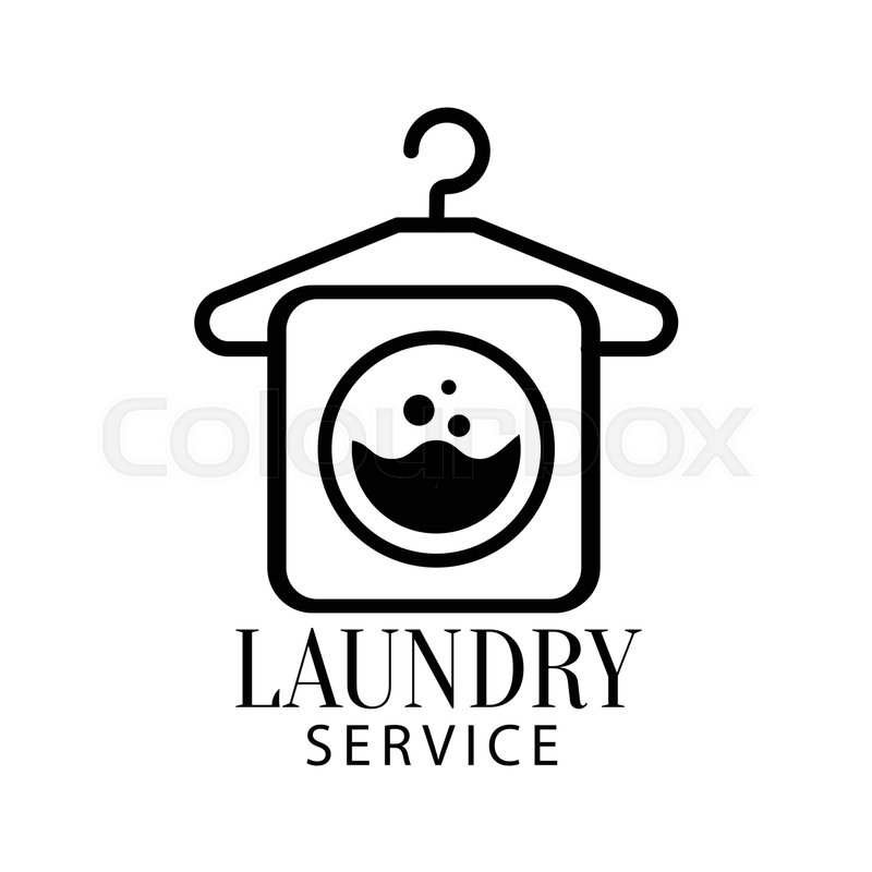 Black And White Sign For The Laundry And Dry Cleaning Service With