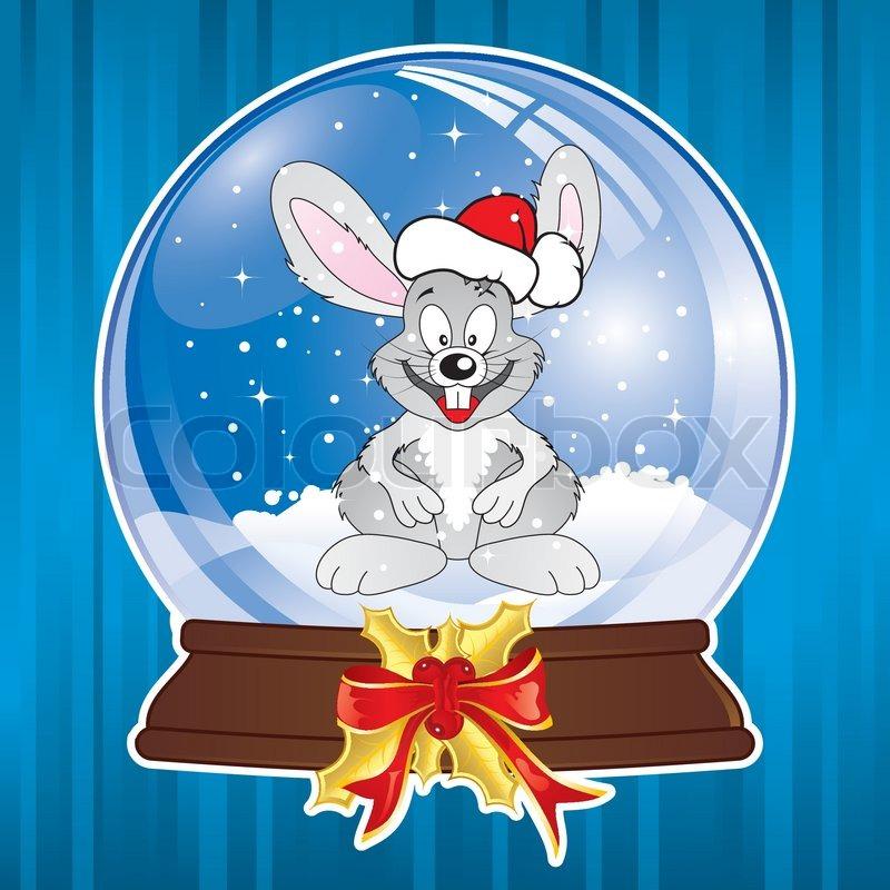 weihnachten hintergrund mit schnee globus und kaninchen. Black Bedroom Furniture Sets. Home Design Ideas