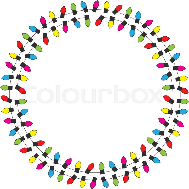 decorative circle frame made of illustrated christmas lights vector