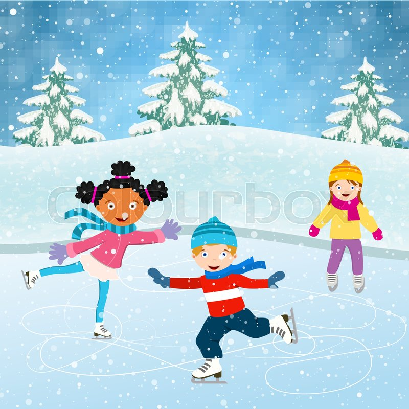 winter scene with skating children illustration of kids having fun rh colourbox com Beautiful Winter Scenes cartoon winter scene
