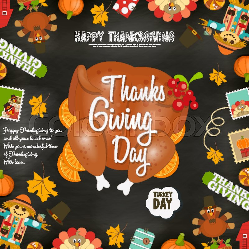 Thanksgiving Day Card Holiday Frame Roasted Turkey And