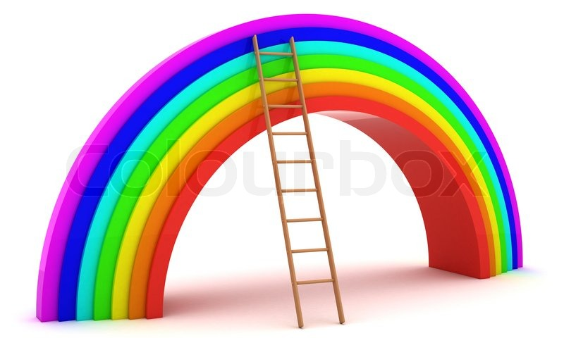 3d Rainbow And Ladder Isolated On The White Background