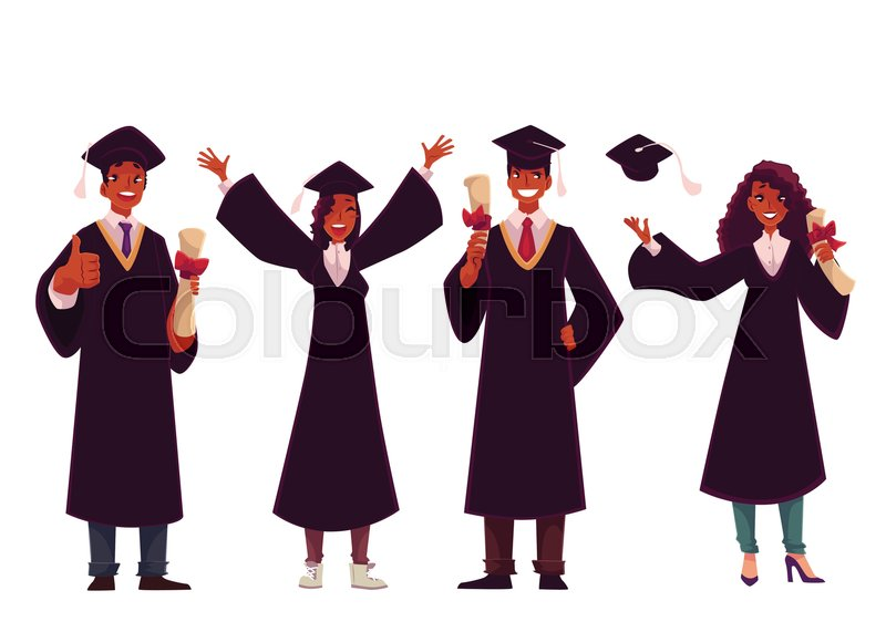Set of black students in traditional caps and gowns celebrating ...