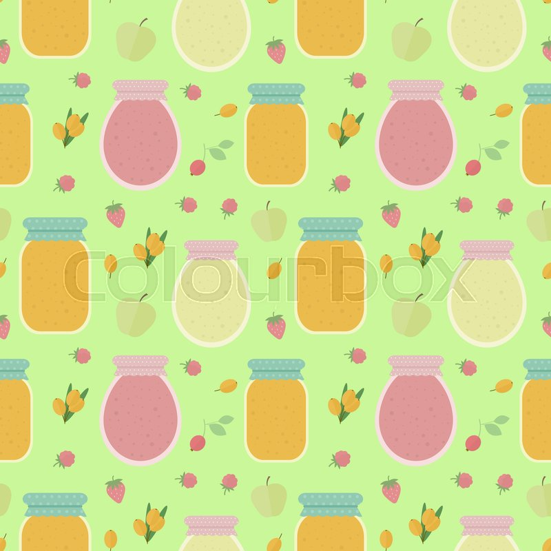 Homemade jam. Seamless pattern with fruits and berries, and jars of jam. background for design of wallpaper, wrapping paper, textile and package design, stock photo