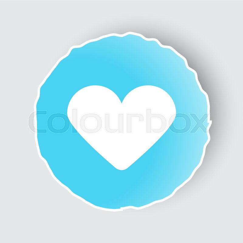 Blue App Button With Heart Icon On White Stock Vector Colourbox
