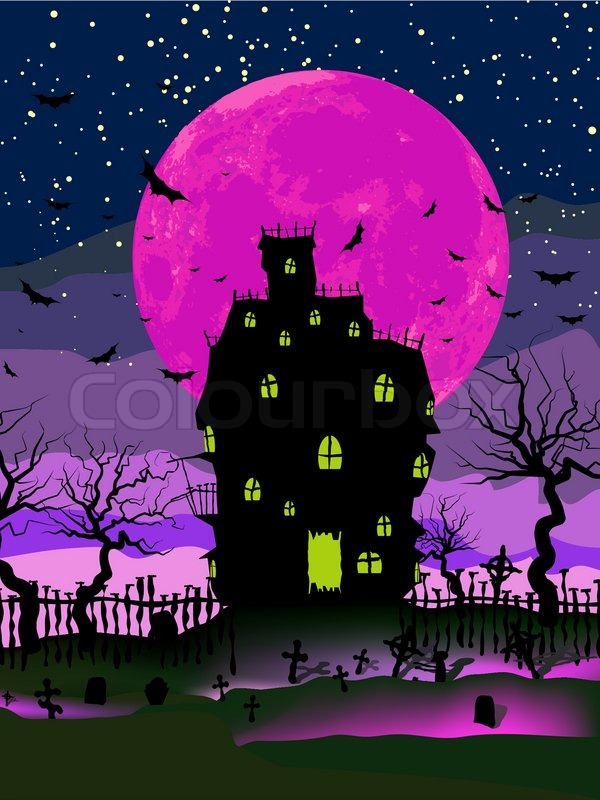 Grungy Halloween Background With Haunted House Bats And Full Moon Stock Vector Colourbox