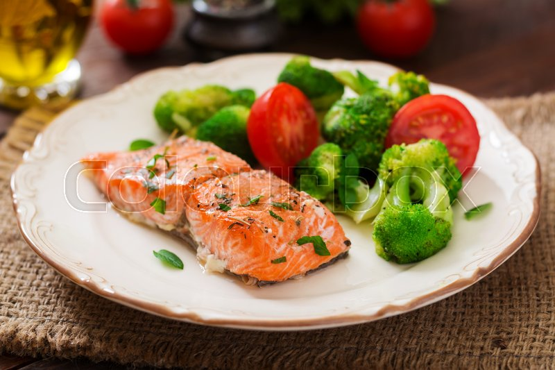 Baked Fish Salmon Garnished With Stock Photo Colourbox