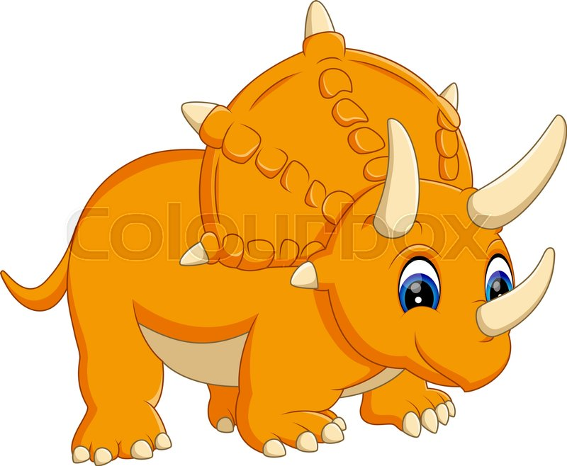 illustration of cute triceratops cartoon stock vector