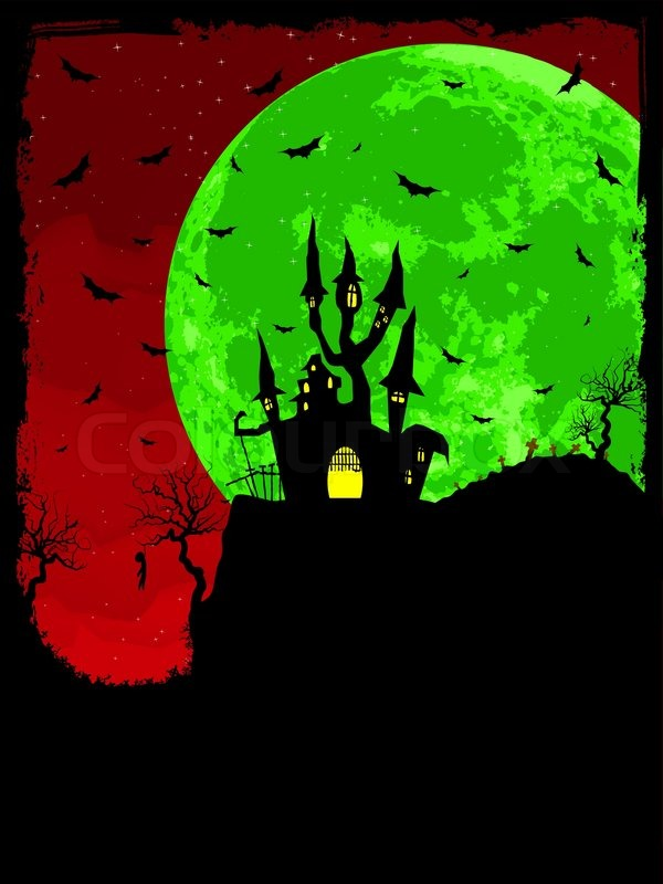grungy halloween background with haunted house bats and