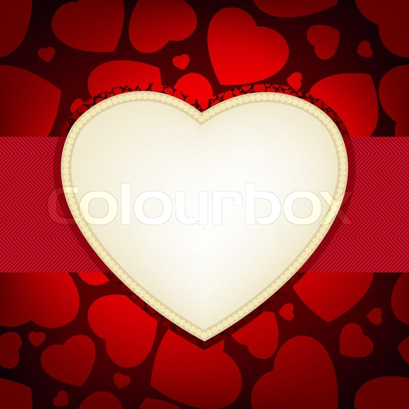 Valentine Day Card Heart Frame Card Template Stock Vector