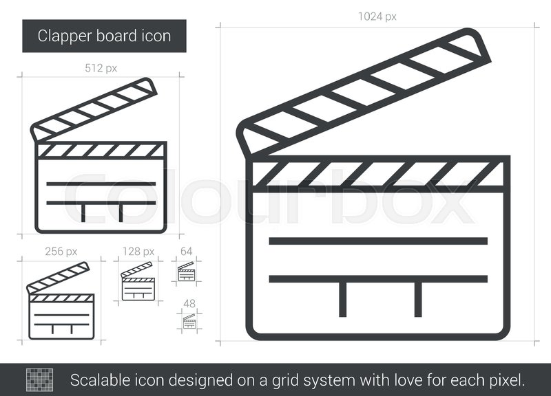 Clapper Board Vector Line Icon Isolated On White Background Clapper