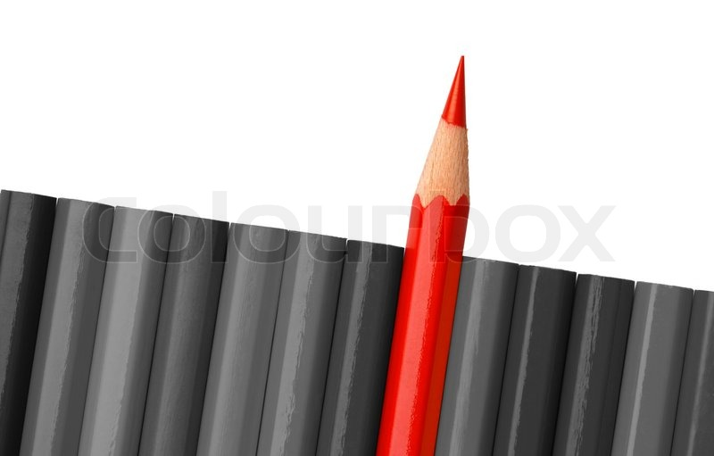 Single red crayon is sticking out of the gray row ...
