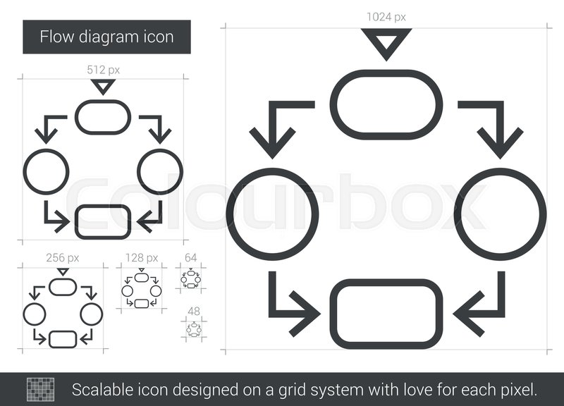 Flow Diagram Vector Line Icon Isolated On White Background  Flow Diagram Line Icon For
