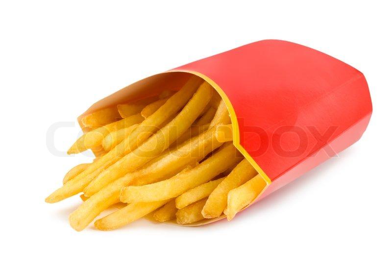 franz sisch frites in einem roten karton isoliert auf wei stockfoto colourbox. Black Bedroom Furniture Sets. Home Design Ideas