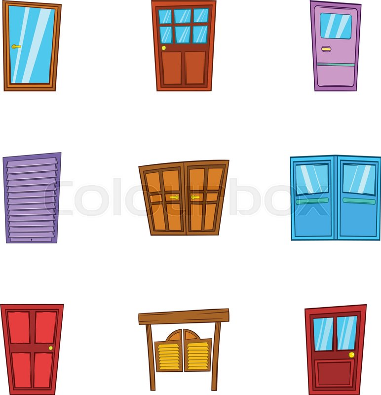 Front Door Icons Set Cartoon Illustration Of 9 Front Door Vector