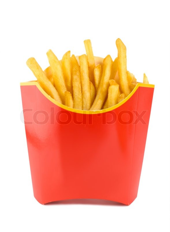 french fries in a red carton box isolated on white stock photo colourbox