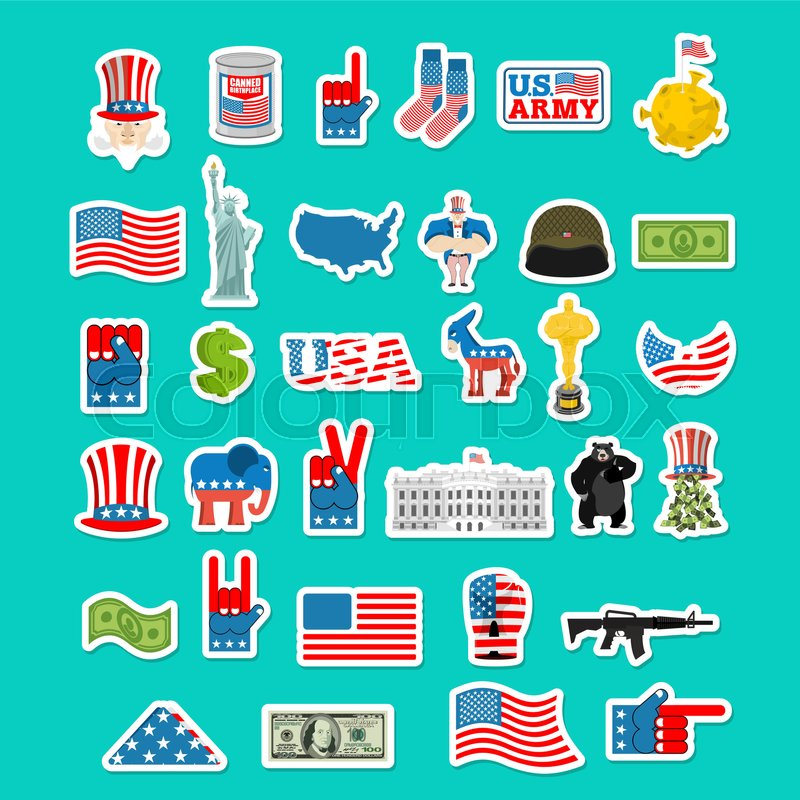 Usa Icon National Sign Of America American Flag And Statue Of Liberty White