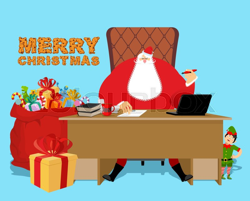 Santa Claus Office. Christmas work. Desk and chair boss ...