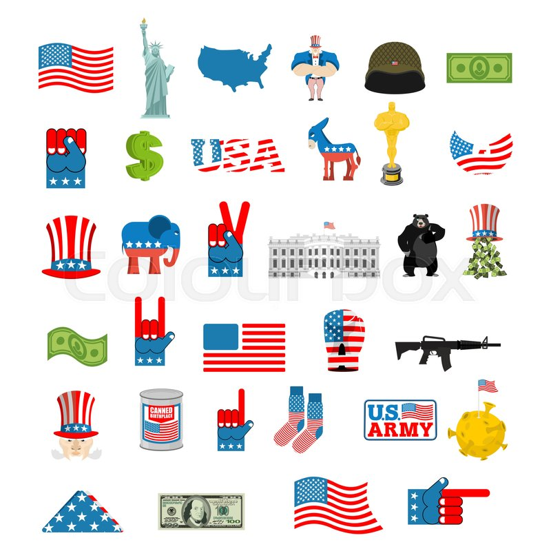 American Icon Set National Sign Of America Usa Flag And Statue Of Liberty White House And Dollar Map Of United States Uncle Sam And Moon