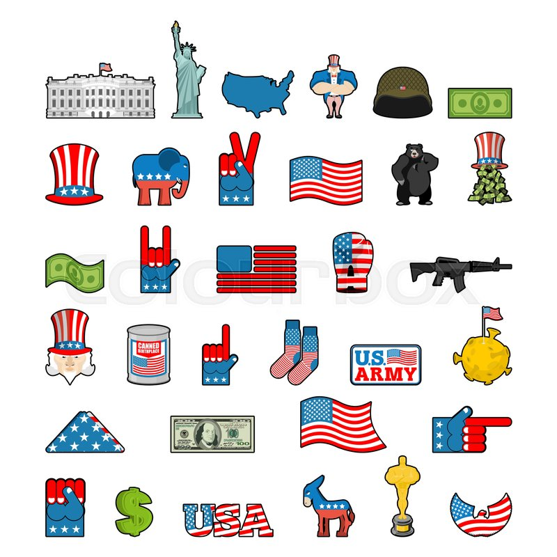America Icon Set National Sign Of Usa American Flag And Statue Of Liberty