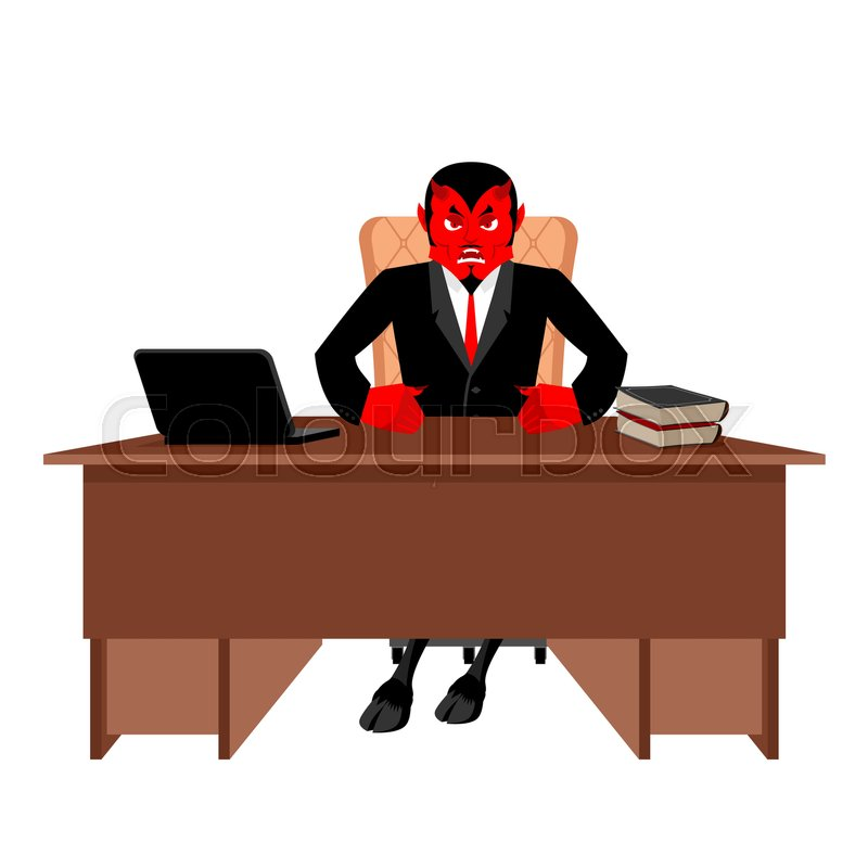 Diablo boss sitting in office. Devil of workplace. Red demon at work