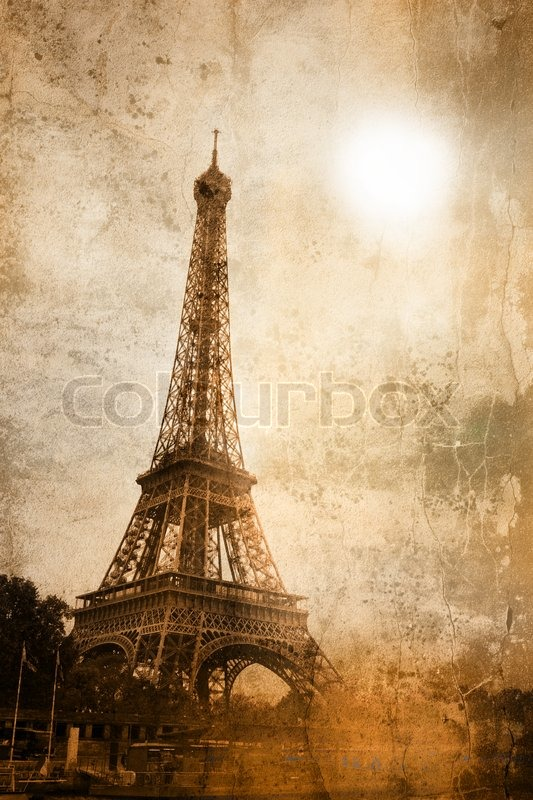 Picture Eiffel Tower on Stock Image Of  Vintage Picture Of The Eiffel Tower