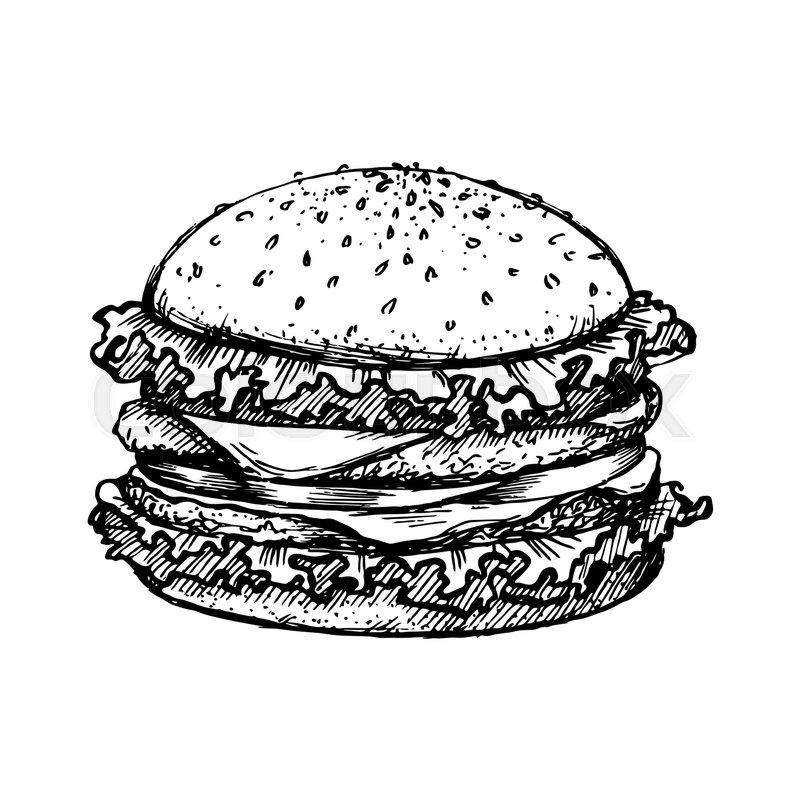 Sketch Hamburger Or Burger Vector Logo ...