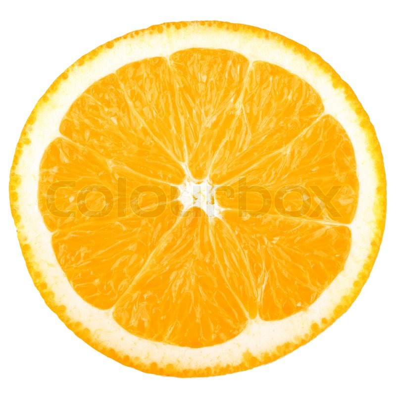 Stock image of 'Macro food collection - Orange slice Isolated on white background'