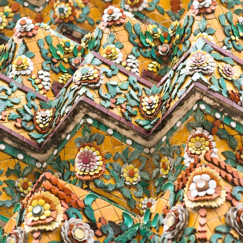 Flower Mosaic On The Buddhist Stupa In Wat Pho Temple