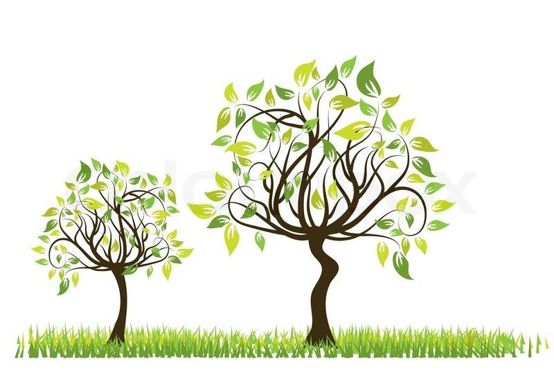Tree Spring Background Vector Illustration