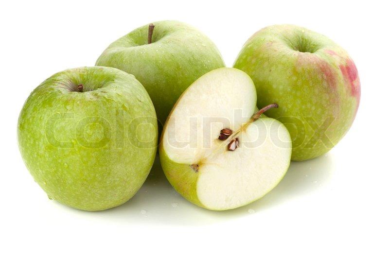 Grune Bohnen Farbe : Drei reife und eine halbe grüne Äpfel  Stockfoto  Colourbox