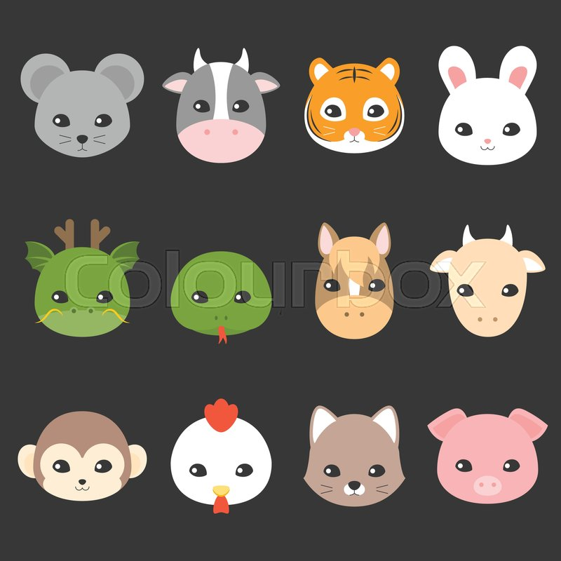 ce5a88f8f Cute cartoon Chinese zodiac icon, face ...   Stock vector   Colourbox