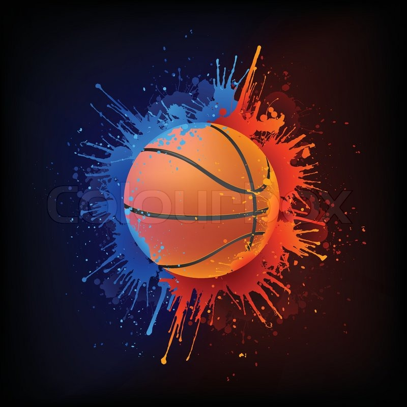 basketball ball in paint isolated on black background