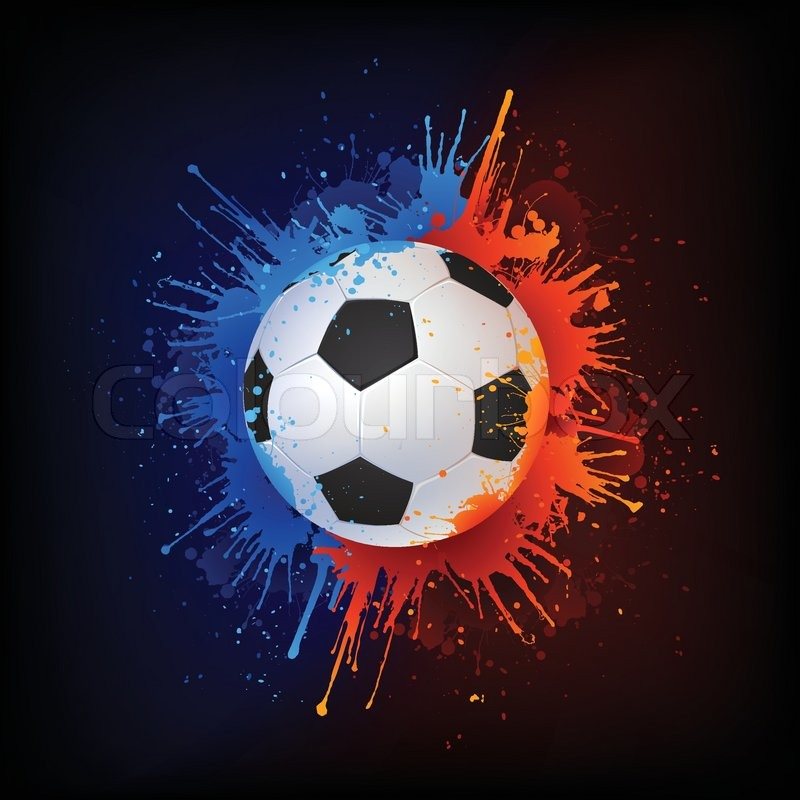 Soccer Ball In Paint Isolated On Black Background