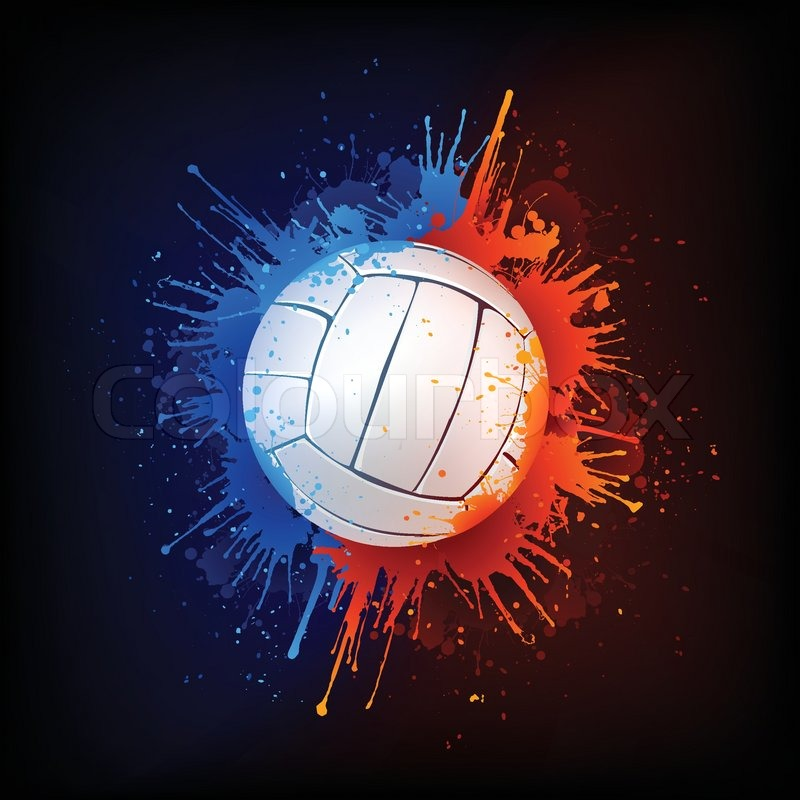 volleyball ball in paint isolated on black background