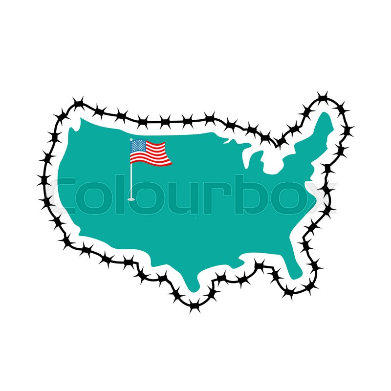 US Closes Border By Immigrants Stop Turban Map Of America With - Clipart us map border security