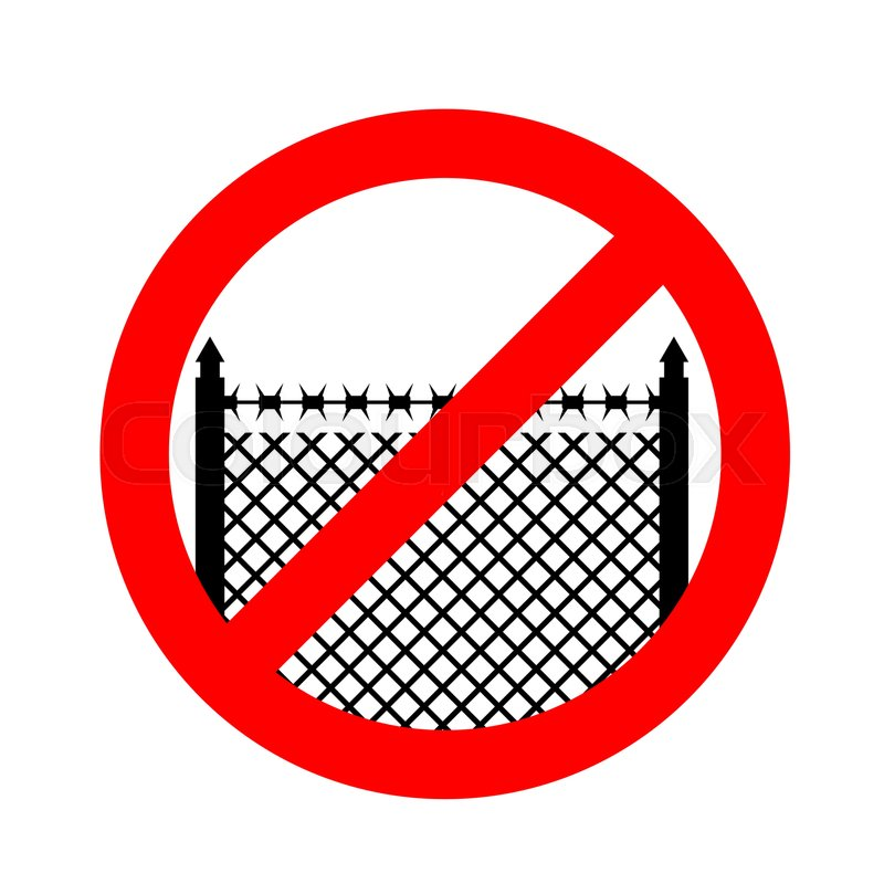 Stop Border Prohibited Fences With Barbed Wire Red Prohibition
