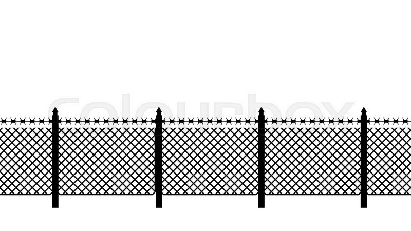 Boundary fence with barbed wire. Border Protection. Protections ...