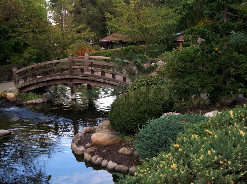 Japanese Garden. Small Bridge, Stock Photo