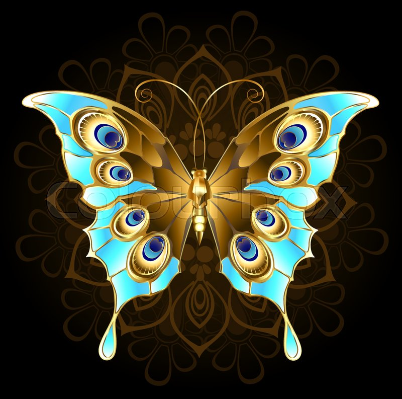 Gold Butterfly Jewelry Decorated With Turquoise On A