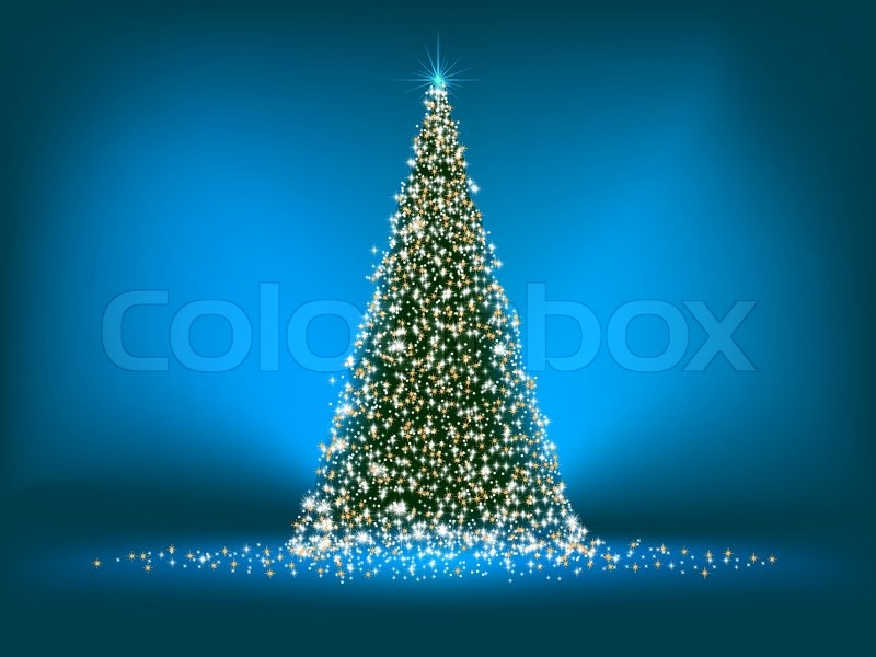 Abstract Green Christmas Tree On Blue Background